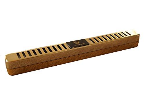 GERMANUS Humidor - Umidificatore per sigari, design lungo, oro, con cristalli