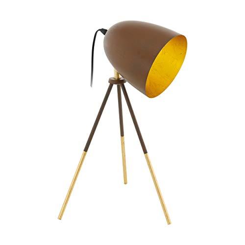 EGLO Chester 1 Dreibein Tischlampe, 1 flammige Vintage Tischleuchte, Nachttischlampe aus Stahl, rostfarben, gold, Fassung: E27, inkl. Schalter