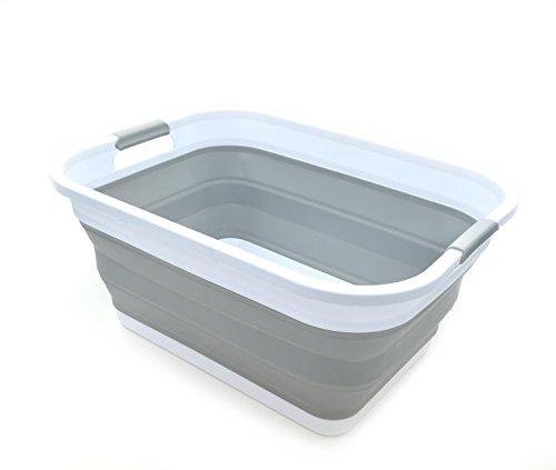 SAMMART Cesta de lavandería de plástico Plegable - Contenedor/Organizador Plegable de Almacenamiento portátil - Tina de Lavado portátil - Cesta/Cesta de Ahorro de Espacio (Gris)