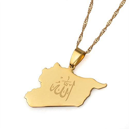 QUWE Karte Kette,Vintage Syrien Elegante Gold Weltkarte Nationalflagge Anhänger Globe Charm Chain Schmuck Geschenk Für Männer Frauen