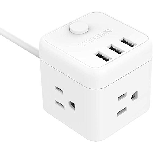 Cube Power Strip 3 Widely Outlet 3 USB Ports, TESSAN Desktop Charging Station, Small Nightstand Charger 5ft Extension Cord for Travel, Cruise Dorm Room, White