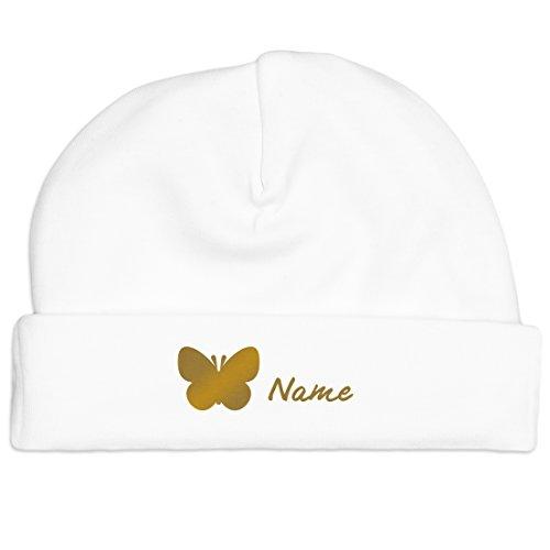 Bio-Baby-Mütze mit Schmetterling und Namen aus 100% Bio-Baumwolle - Babygeschenk (fairer Handel - Unisex) (Weiss-Gold)