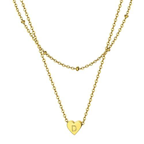 Cadena para mujer de acero inoxidable con colgante de letra inicial personalizado, doble cadena [plateada o negro] para regalo de cumpleaños, boda, San Valentín, Navidad,