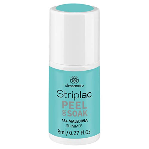 alessandro Striplac Peel or Soak Maledivia - LED-Nagellack in Hellblau mit Shimmer - Für perfekte Nägel in 15 Minuten, 8 ml