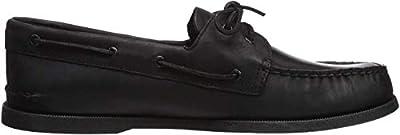 Sperry Mens A/O 2-Eye Boat Shoe, Black, 13 Wide