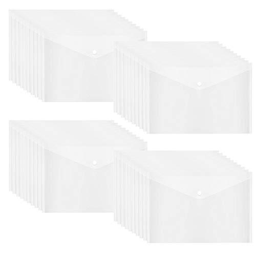 40pcs Poly Envelope, Clear Plastic Waterproof Envelope Folder with Button Closure, US Letter / A4 Size