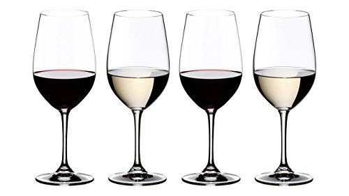 Riedel 7416/54 Vinum - Juego de 4 Copas de Vino Tinto y Blanco (Cristal y 4 pajitas de Acero Inoxidable), Color Plateado