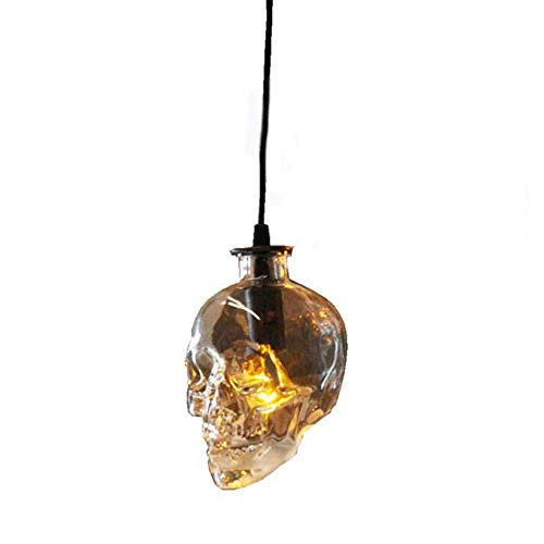 Lámpara de Cristal, lámpara de Calavera E14, Loft Vintage Bar Restaurant Halloween Skull Lámpara Colgante,1/Chandelier