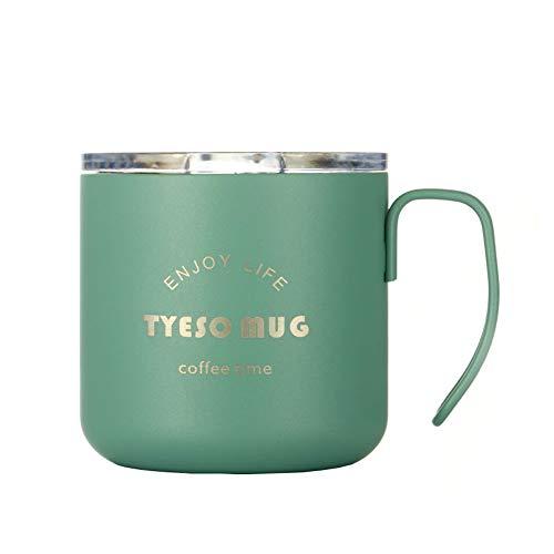 Roestvrijstalen beker, 350 ml koffiekop, isolatie | lekvrij | antislip | houdbaar, voor koffie, melk, sap, bier - 2 stuks groen