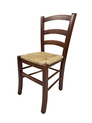 Totò Piccinni SEDIA PAESANA VENEZIA, legno di faggio, ALTISSIMA QUALITA', L43xP48xH88 cm 5 Kg (Noce, Seduta Paglia)