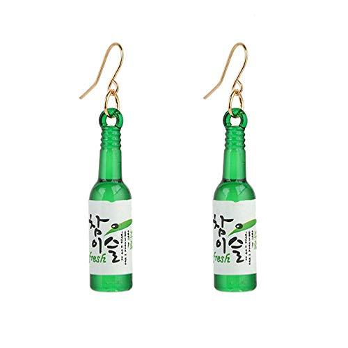 U-K Pendientes de Gancho de Botella de Vino Creativo Pendientes de cóctel de Mujer de Moda Pendientes de Vino Tinto Verde Diseño sostenible