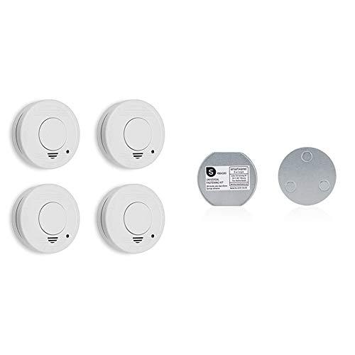 Smartwares 4er Pack TÜV geprüfter Rauchmelder/Feuermelder, DIN EN 14604 Zertifiziert, RM250/4, 4er Pack & Magenthalter für Rauchmelder/6 cm Ø/Magnetbefestigung für Rauchmelder, RMAG60