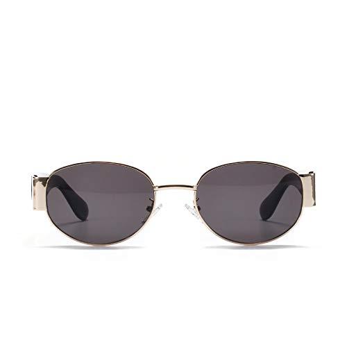 JINZUN Gafas de Sol de Metal Retro ovaladas Gafas de Montura Completa de Moda al Aire Libre protección UV Dorado Todo Gris
