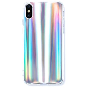 Wingcases for iPhone X/Xs Case Psychedelic Holographic Colorful Rainbow Effect Cover with Luxury Iridescent Pattern and Clear Edge Look
