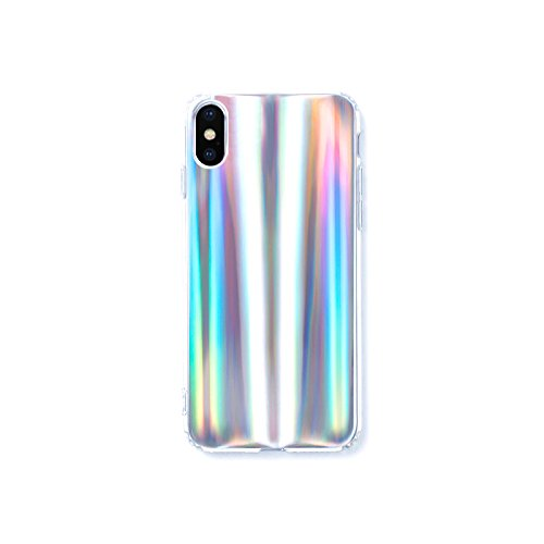 Wingcases for iPhone X Case Psychedelic Holographic Colorful Rainbow Effect Soft TPU Cover for iPhone 10 with Luxury Iridescent Pattern and Clear Edge Look