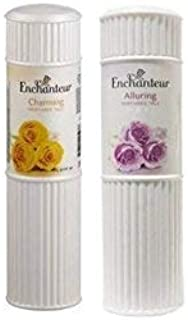 Enchanteur Perfumed Charming Talc 125 gm + Alluring Talc 125 gm Combo Pack With Free Ayur Sunscreen 50 ml