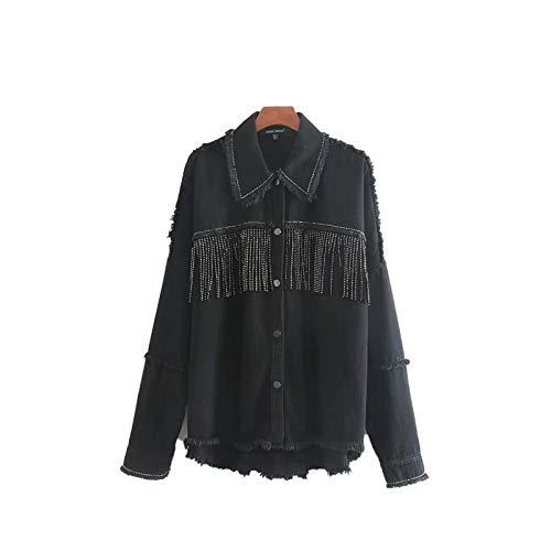 Estilo europeo y americano solapa cárdigan tops de las mujeres de manga larga de la moda de la calle todos los partidos de algodón camisa remache borla chaqueta