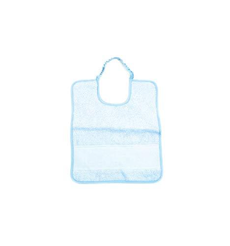 Bavaglino con Elastico per Asilo Nido e Scuola Materna in Spugna di Cotone con Nome Personalizzato-Misura 26x32-Colore Azzurro