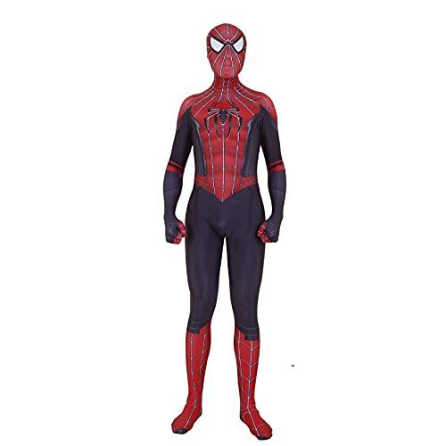 LQ-LIMAO Lejos de la casa Spiderman Cosas para niños Adultos Halloween Cosplay Superhéroe Traje para niños Spandex Zentai Niños Regalos Ropa Ropa Ropa de Moda,Black-Adult/M(155~160cm