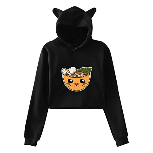 CAPINER Cat Ear Hoodie Sweater for Womens Ramen Noodle Ne-ko Cat Pattern Sexy Exposed Navel Hooded Crop Tops Black XXL