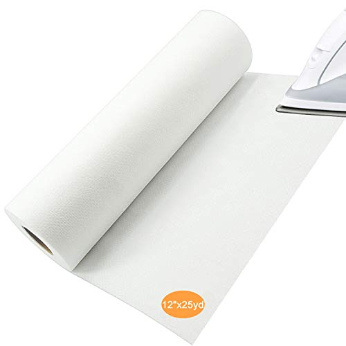 "New brothread Fusible Iron on No Show Mesh Machine Embroidery Stabilizer Backing 12"" x 25 Yd roll - Light Weight 1.8 oz - 3 Options - Tear Away/Cut Away/No Show Mesh"