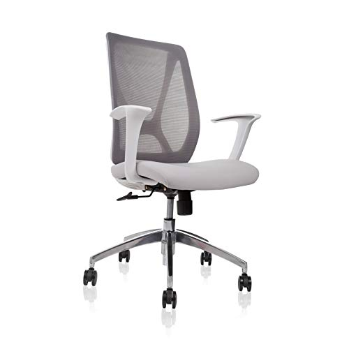 Conference Room Ergonomic Office Chair with Mesh Back, Comfortable HIGH Density Molded Foam Padded Seat/Comes with White Frame Chrome Star Base (Grey)