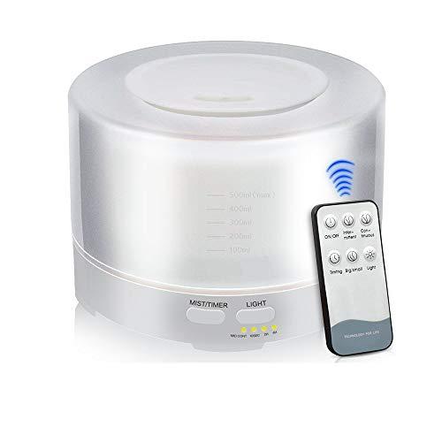 NEWKBO 500 ml Humidificador Ultrasónico Difusor Aromatherapie Humidificador Grano De Madera Difusor De Aceites Esenciales Transmisión Purificador De Aire Madera Con 7 ColoresLuces LED Para