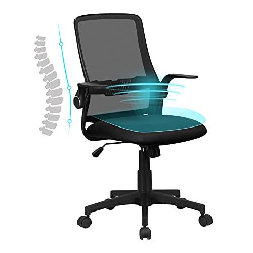 Komene Sedia da Ufficio Ergonomica Sedia da Scrivania Girevole a 360° con Ruote Sedia da Computer in Rete con Braccioli Ribaltabili Sedia Regolabile Nero