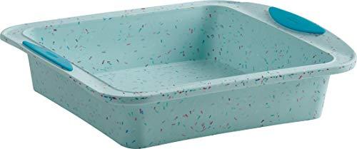 Trudeau SQUARE CAKE PAN 8x8 Silicone Bakeware, Medium, Blue Confetti