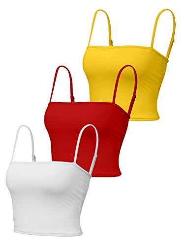 YMDUCH Women's 3 Pieces Basic Tops Adjustable Spaghetti Straps Sports Yoga Sleep Crop Tank White/Red/Yellow
