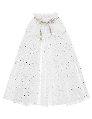iixpin Capa Infantil de Tul de Princesa con Lentejuelas Brillante Poncho con Estrella Disfraz Accesorio de Hadas Fiesta Halloween Blanco M