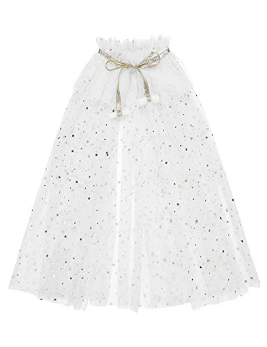 Yeahdor Kids Girls Sparkling Tulle Princess Snowflake Cloak Capes Queen Fancy Dress Halloween Birthday Party Costumes White M