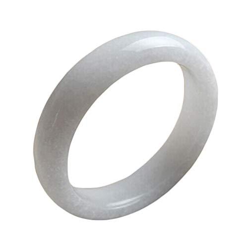 AKT Natürliches Weißes Jade Armreif Damen Temperament Schmuck Edelsteine Zubehör Echtes Jade Armband,61-63mm