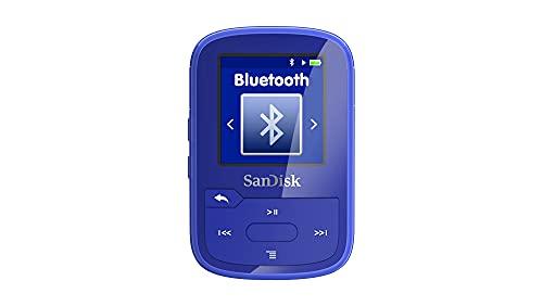 SanDisk Clip Sport Plus MP3 Player 16 GB (Bluetooth, 20 Stunden Akkulaufzeit, leicht, einfach zu befestigen, FM- Funk, bis zu 4.000 Songtitel) Blau