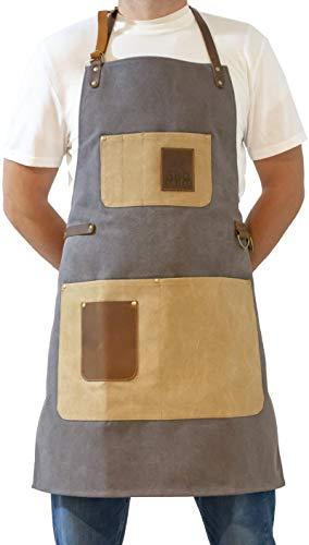 BBQ Butler Grill-Butlerschürze – Premium verstellbare Canvas-Schürze – Deluxe Lederakzente