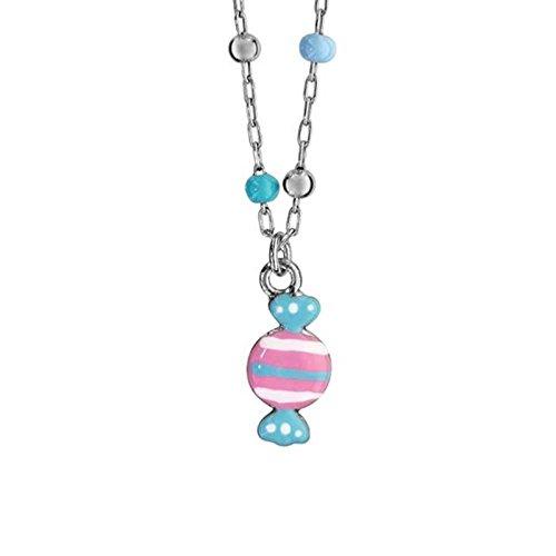 Bijoux Laperledargent Collana argento 925BAMBINO PALLINE BLU E Caramella rosa e azzurro