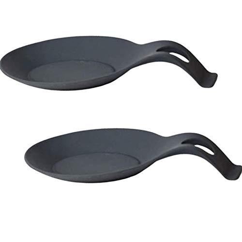 2 Pezzi Poggia Cucchiaio in Silicone, Poggia Mestolo in Silicone, Appoggia Cucchiaio, Resto per Utensili da Cucina in Silicone Resistente al Calore, per Ristorante Domestico (Nero)