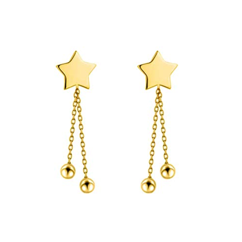 Vvff Solid Real Silver Star Links Beads Stud Earrings Gift For Women Girls Kids Lady