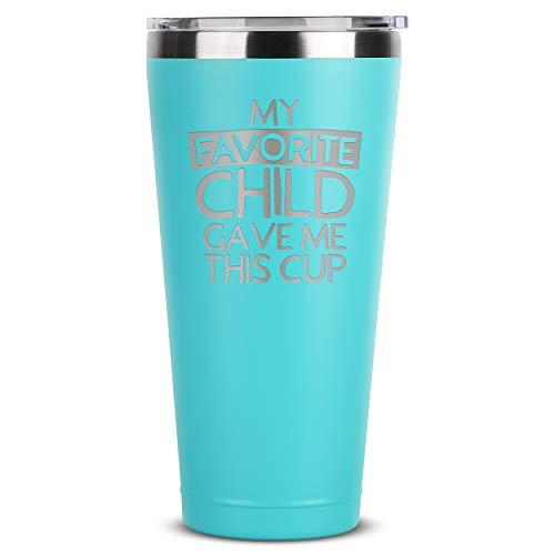 My Favorite Child Dave Me This Cup – Vaso de acero inoxidable con aislamiento de menta con tapa para mamá papá – cumpleaños, día de la madre, día del padre, de hija, hijo...