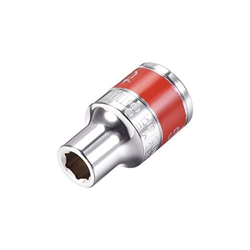 DyniLao 1/2-Inch Drive by 8mm Shallow Socket con banda roja, Cr-V, 6 puntos, Métrico