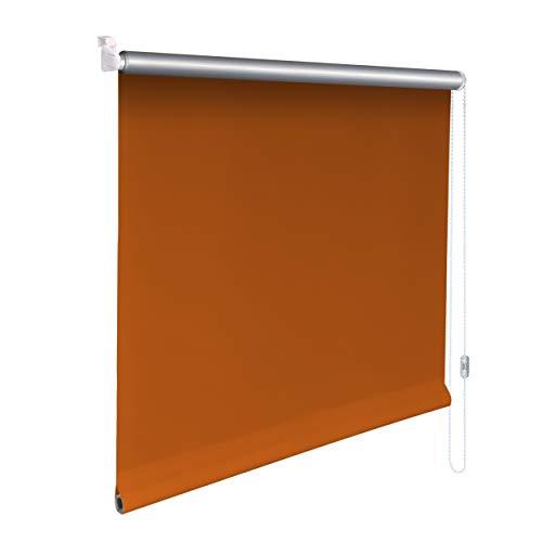 Sonnenschutz-HH® - Mini Thermo Verdunkelungsrollo Thermorollo Minirollo Rollo KLEMMFIX Seitenzugrollo Kettenzugrollo inkl. Klemmträger ohne bohren - Außenmaß Breite 140 x50 cm Höhe - orange-terracotta