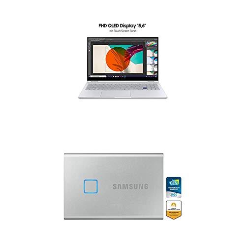 SamsungGalaxy Book Flex 39,62 cm (15,6 Zoll) Notebook (Intel Core i5-1065G7, 8 GB RAM, 256 GB SSD, S Pen, Windows 10 Home) royal silver + T7 Touch Portable SSD - 500 GB - USB 3.2 Gen.2 Externe SSD
