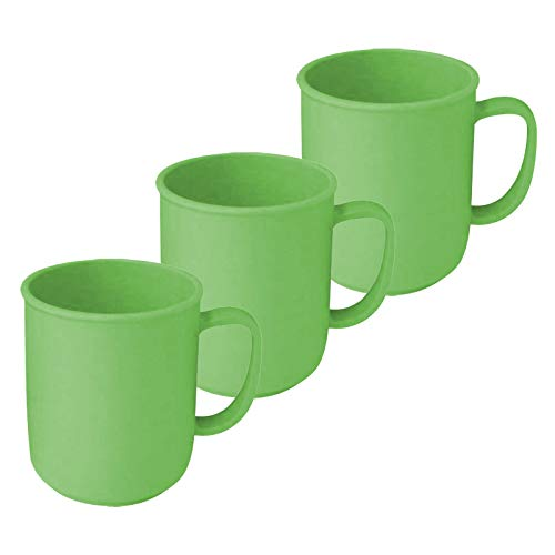 3 Tassen mit Henkel à 300 ml Grün aus Kunststoff in verschiedenen Farben Kaffeetasse Teetasse Becher Henkelbecher Henkeltasse