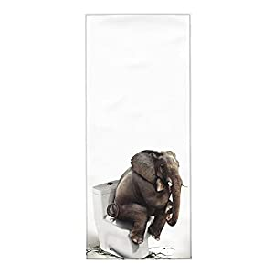 Funny Elephant Sitting on The Toilet Soft Fingertip Towels, Hand Towel, Dish Towel for Bathroom All Season 12 x 27.5 inch