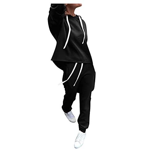 LUOBOTOU Zweiteiler Damen Jogginganzug FußBall Trainingsanzug Fitness-Bekleidung Sportanzug Herren (Schwarz,XL)