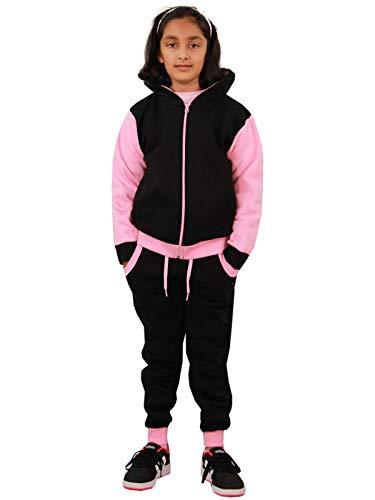 A2Z 4 Kids® - Survêtement pour fille - Sweat à capuche et pantalon en polaire contrastée - pour fille de 2 à 13 ans, Rose fluo uni - Rose - 9 ans