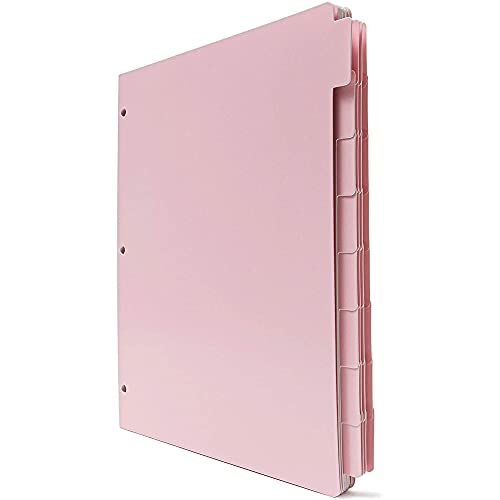 12 Pack Pink Paper Binder Dividers for 3 Ring Binders with 8...