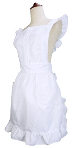 LilMents Retro Adjustable Ruffle Apron with Pockets, Small to Plus Size Ladies (White)
