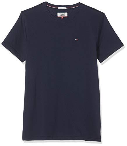 Tommy Hilfiger Regular C Camiseta con Cuello Redondo, Azul (Black Iris), L para Hombre