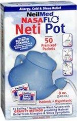 Neilmed Nasaflo netipot Nasal Hygiene with 50 premixed Packets 240ml netipot Nasal Pot Saline wash System by Neti Pot